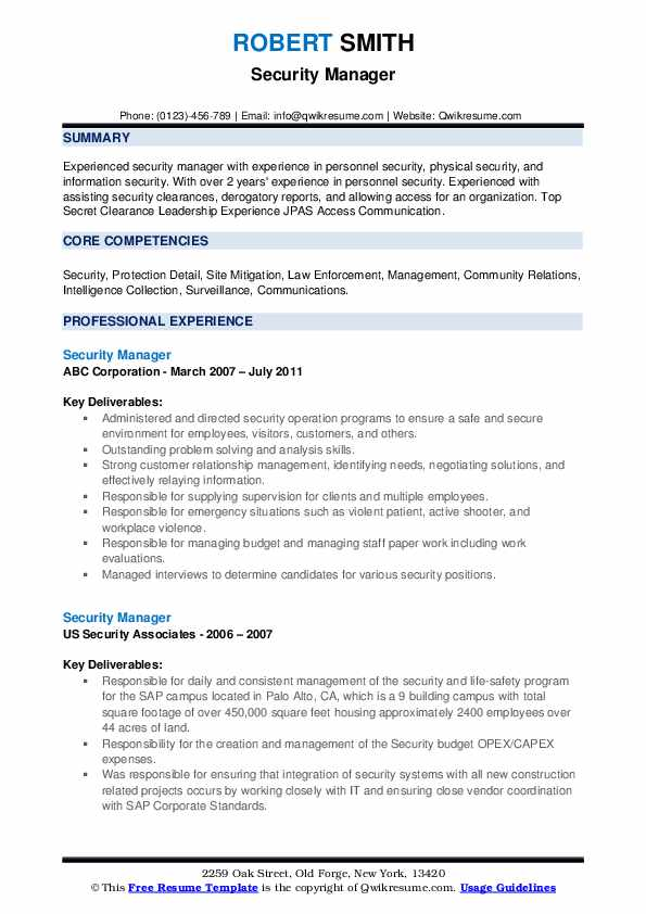 security manager resume samples qwikresume corporate pdf free student templates Resume Corporate Security Manager Resume
