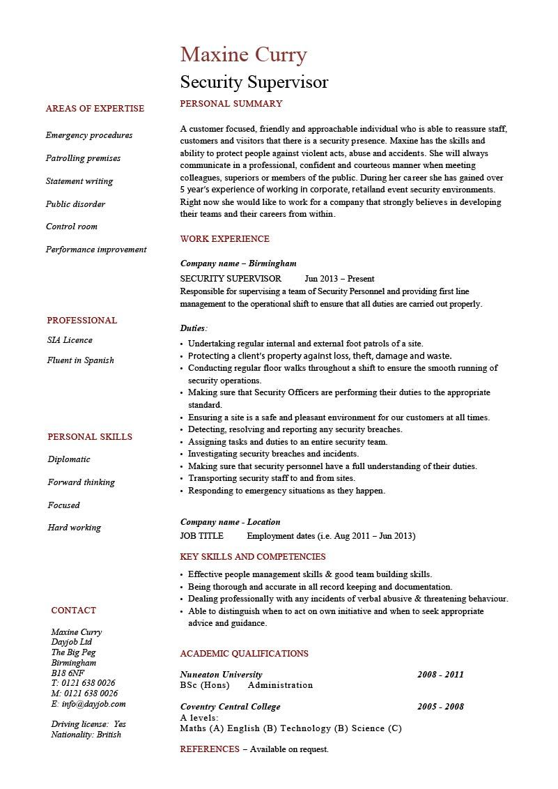security supervisor resume template cv example pdf casino mail team leader doors you can Resume Corporate Security Manager Resume