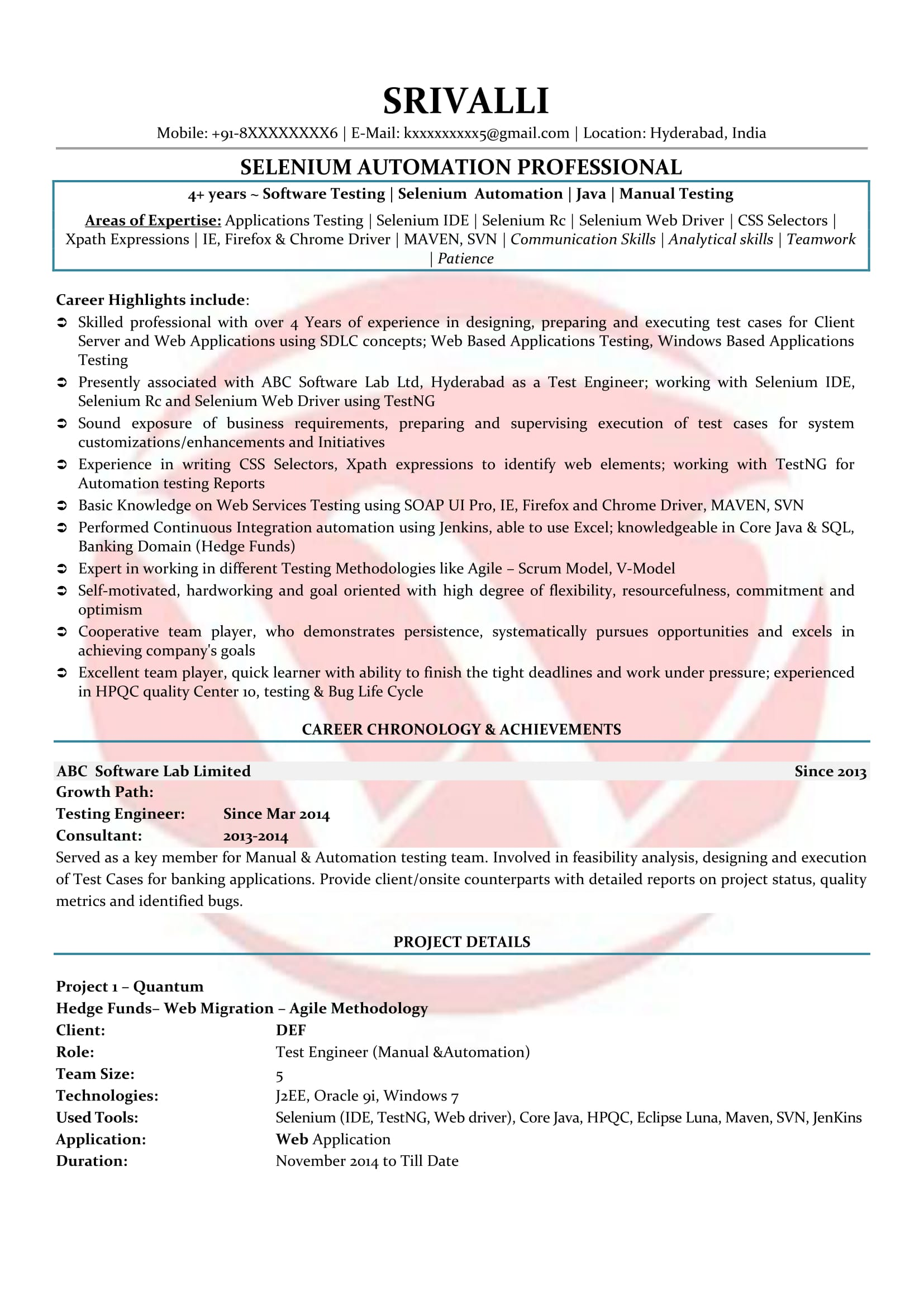 selenium sample resumes resume format templates for year experience teacher objectives Resume Selenium Resume For 1 Year Experience