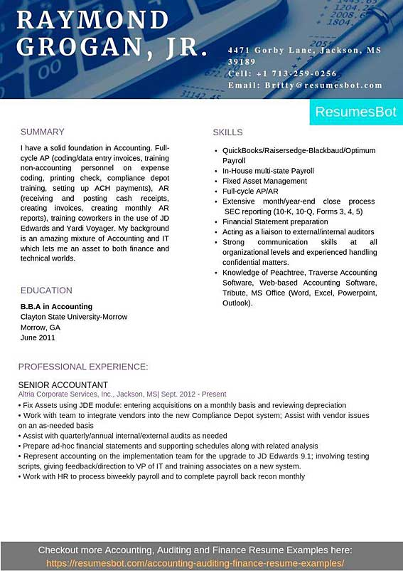 senior accountant resume samples templates pdf resumes bot payroll examples example first Resume Payroll Accountant Resume Examples