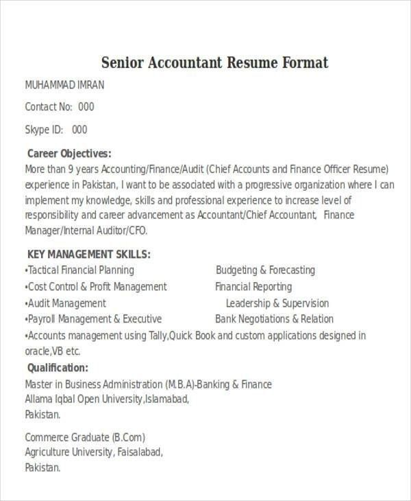 senior auditor resume accountant format in word career objective for forklift sample Resume Career Objective For Auditor Resume