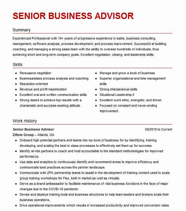 senior business advisor resume example jwp associates marcellus new small examples typing Resume Small Business Advisor Resume