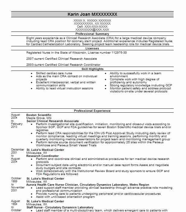 senior clinical research associate resume example verathon kirkland financial services Resume Clinical Research Associate Resume