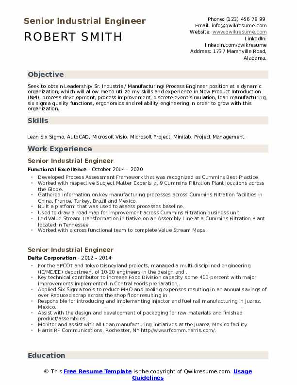 senior industrial engineer resume samples qwikresume pdf residential construction project Resume Industrial Engineer Resume