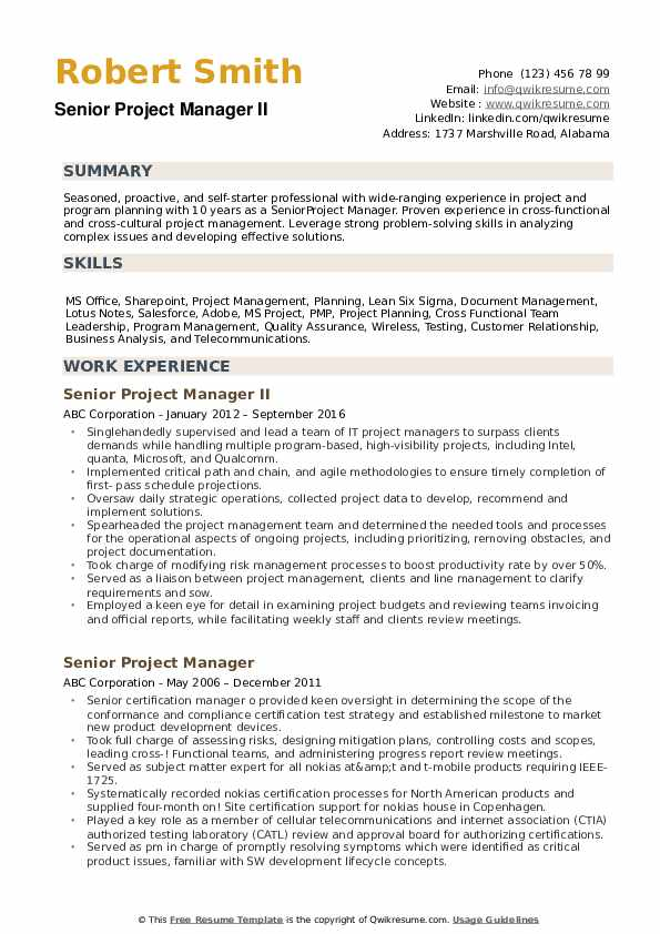 senior project manager resume samples qwikresume examples free pdf construction laborer Resume Project Manager Resume Examples Free