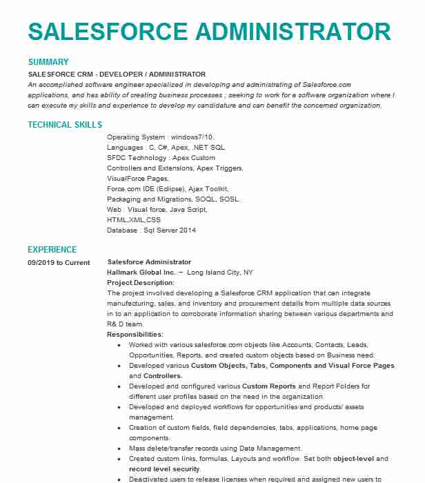 senior salesforce administrator resume example the warranty group chicago admin for years Resume Salesforce Admin Resume For 3 Years Experience