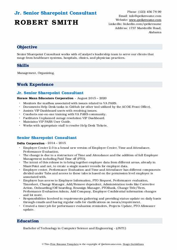 senior sharepoint consultant resume samples qwikresume office pdf career services Resume Office 365 Consultant Resume