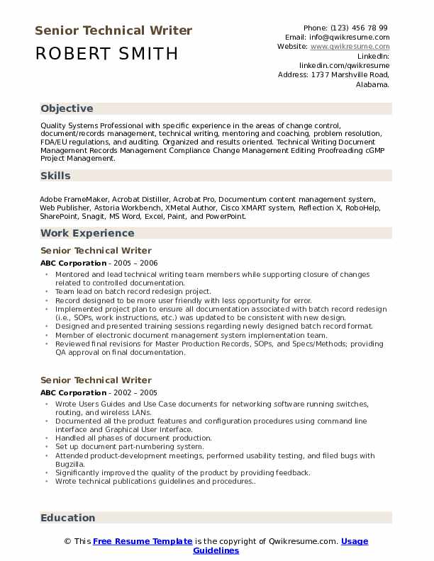senior technical writer resume samples qwikresume template pdf describe customer service Resume Technical Writer Resume Template