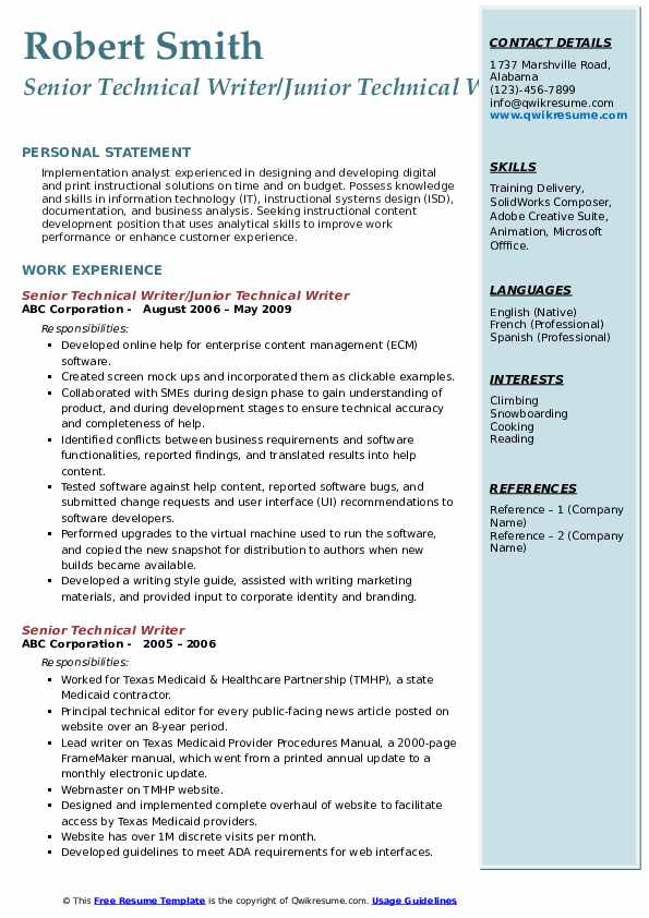 senior technical writer resume samples qwikresume template pdf nursing assistant duties Resume Technical Writer Resume Template