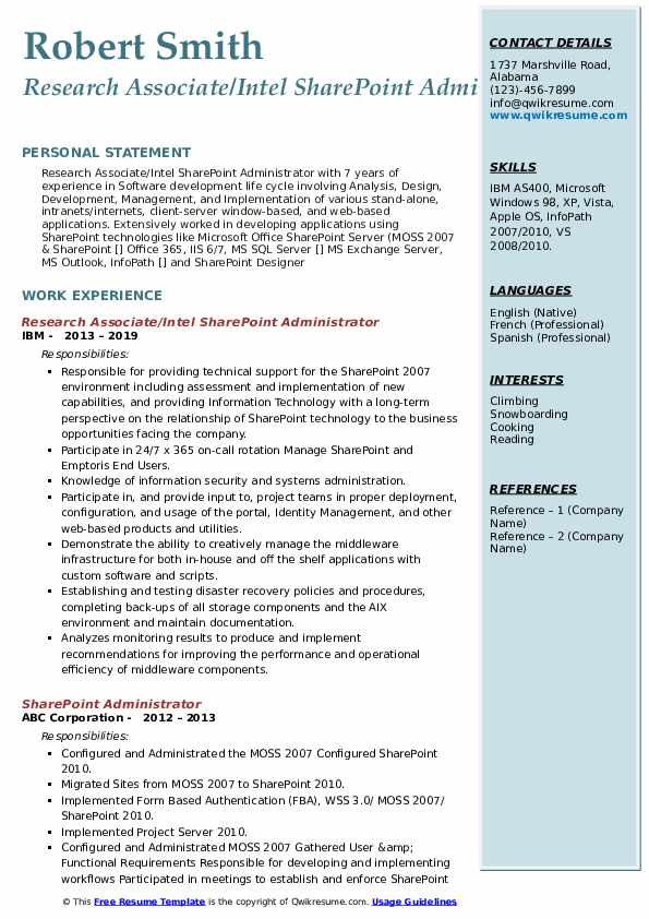 sharepoint administrator resume samples qwikresume pdf for little work experience quality Resume Sharepoint Administrator Resume