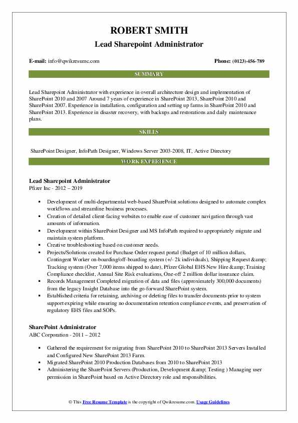 sharepoint administrator resume samples qwikresume skills pdf software for mac computers Resume Sharepoint Skills Resume