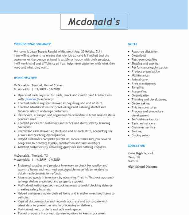 shift manager resume example medford mcdonalds maintenance introduction for examples gym Resume Mcdonalds Maintenance Resume