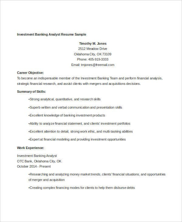 simple banking resume templates pdf free premium objective for bank job investment Resume Resume Objective For Bank Job
