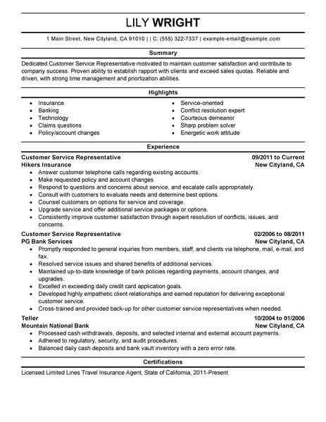 simple customer service representative resume example livecareer entry level claims Resume Entry Level Claims Representative Resume