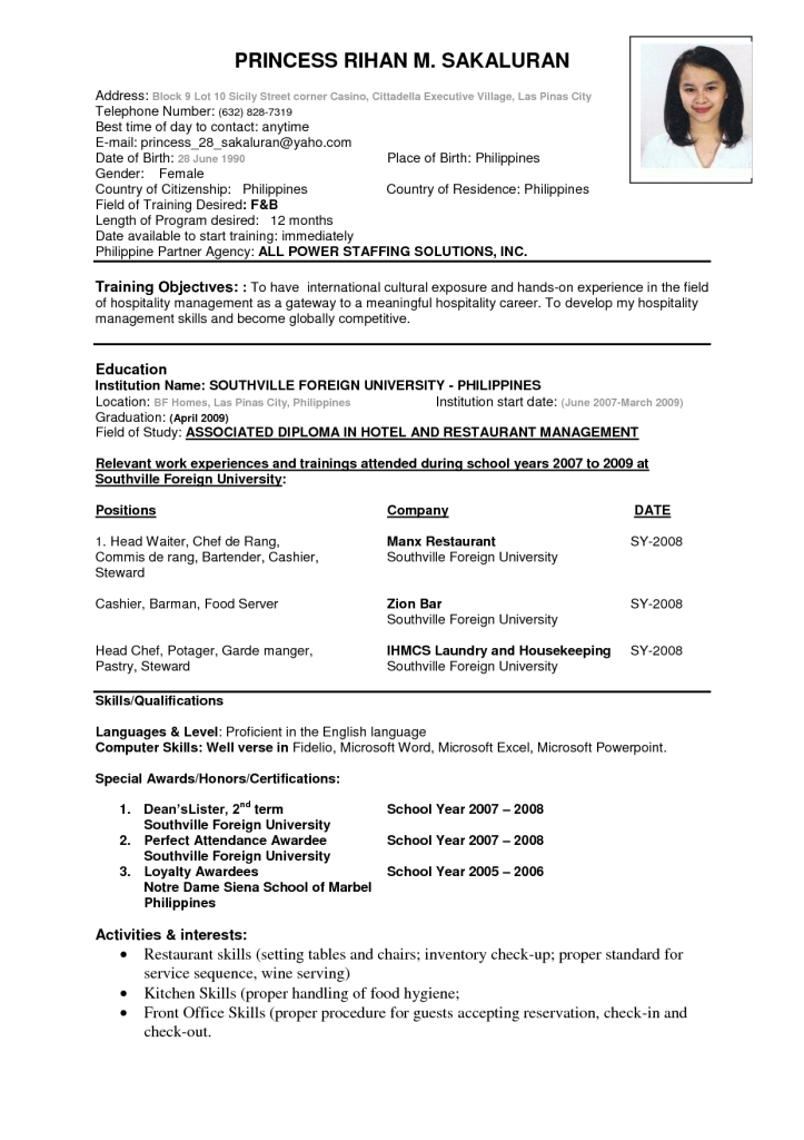 simple student resume format pdf excel should you put dates on your college example cna Resume Resume Format Excel Download