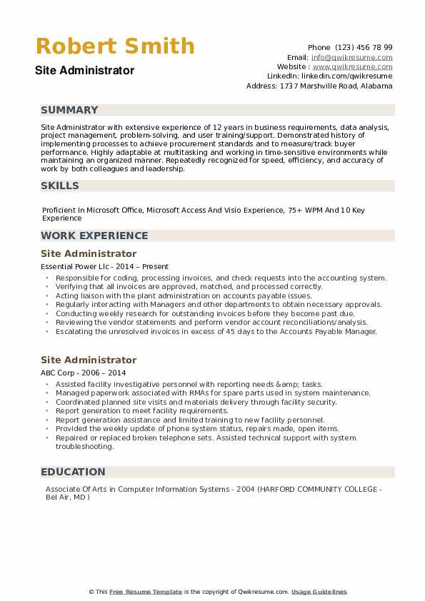 site administrator resume samples qwikresume administration format pdf lil dicky usps Resume Administration Resume Format