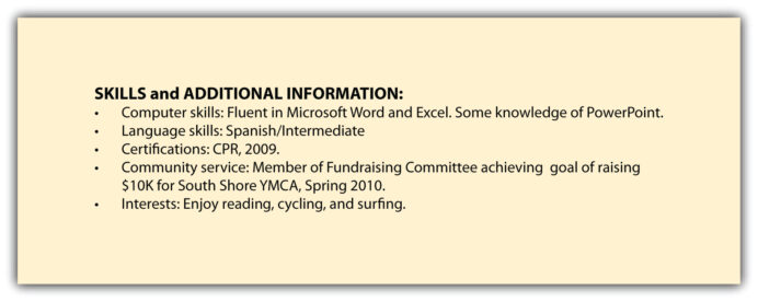 skills additional information and references interests on resume examples of hobbies Resume Skills And Interests On Resume