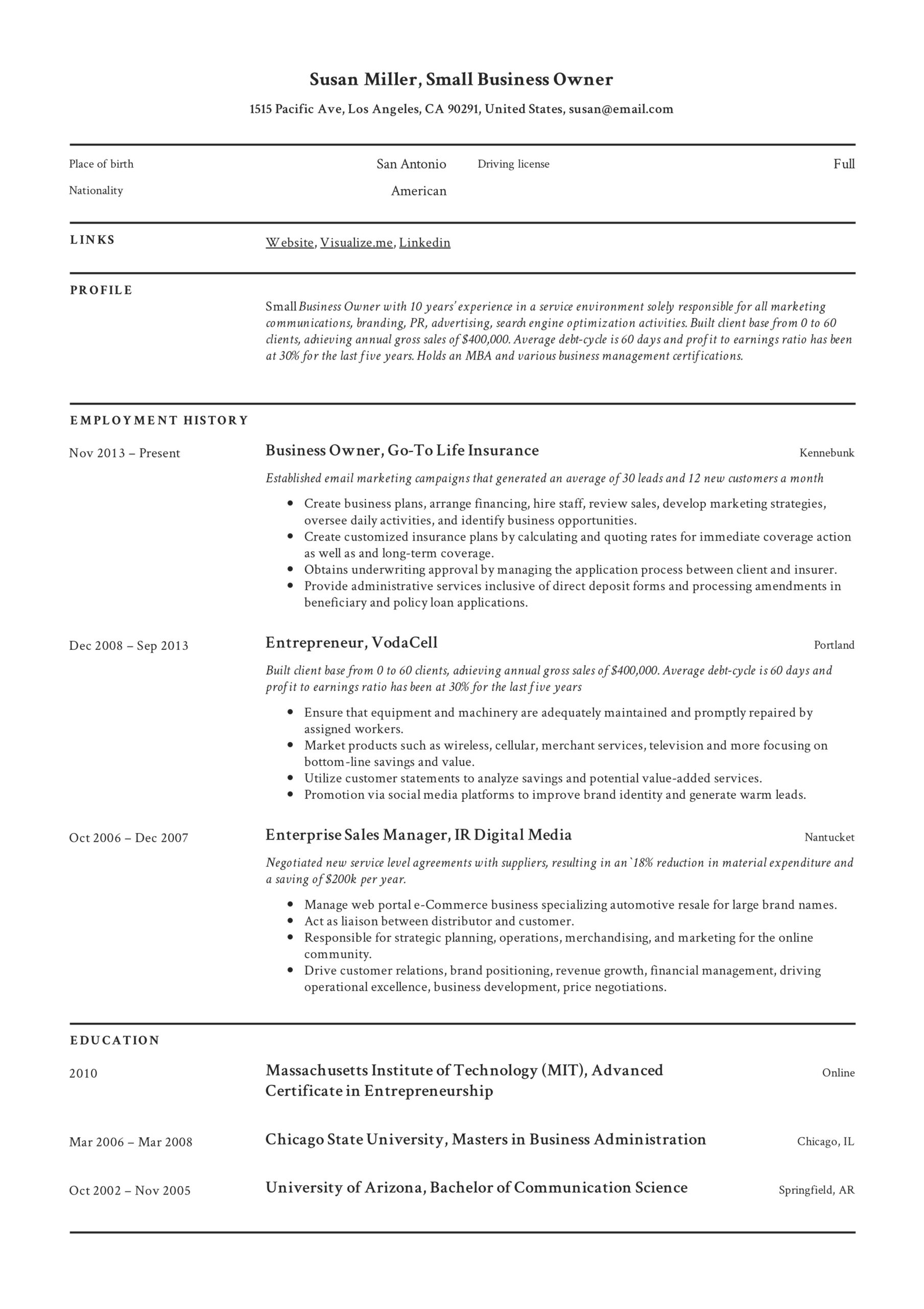 small business owner resume guide examples pdf entrepreneur samples example best Resume Entrepreneur Resume Samples
