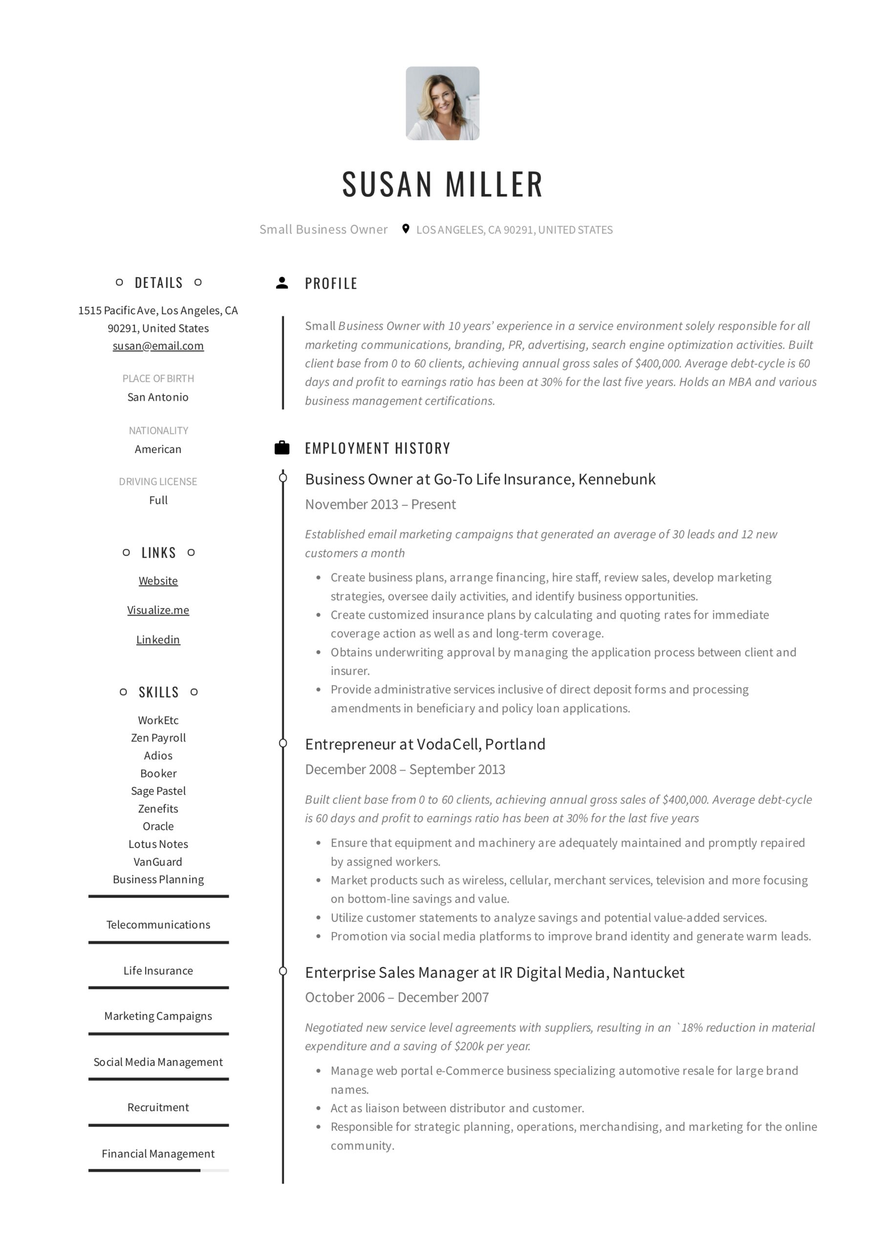 small business owner resume guide examples pdf self employed sample example putting Resume Self Employed Resume Sample