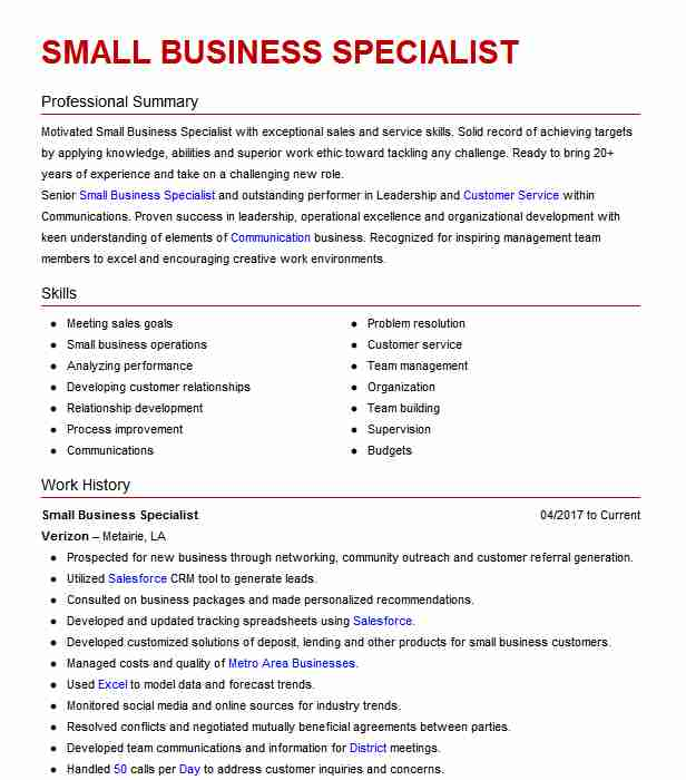 small business specialist resume example jp macedon new career objective for electronics Resume Business Specialist Resume