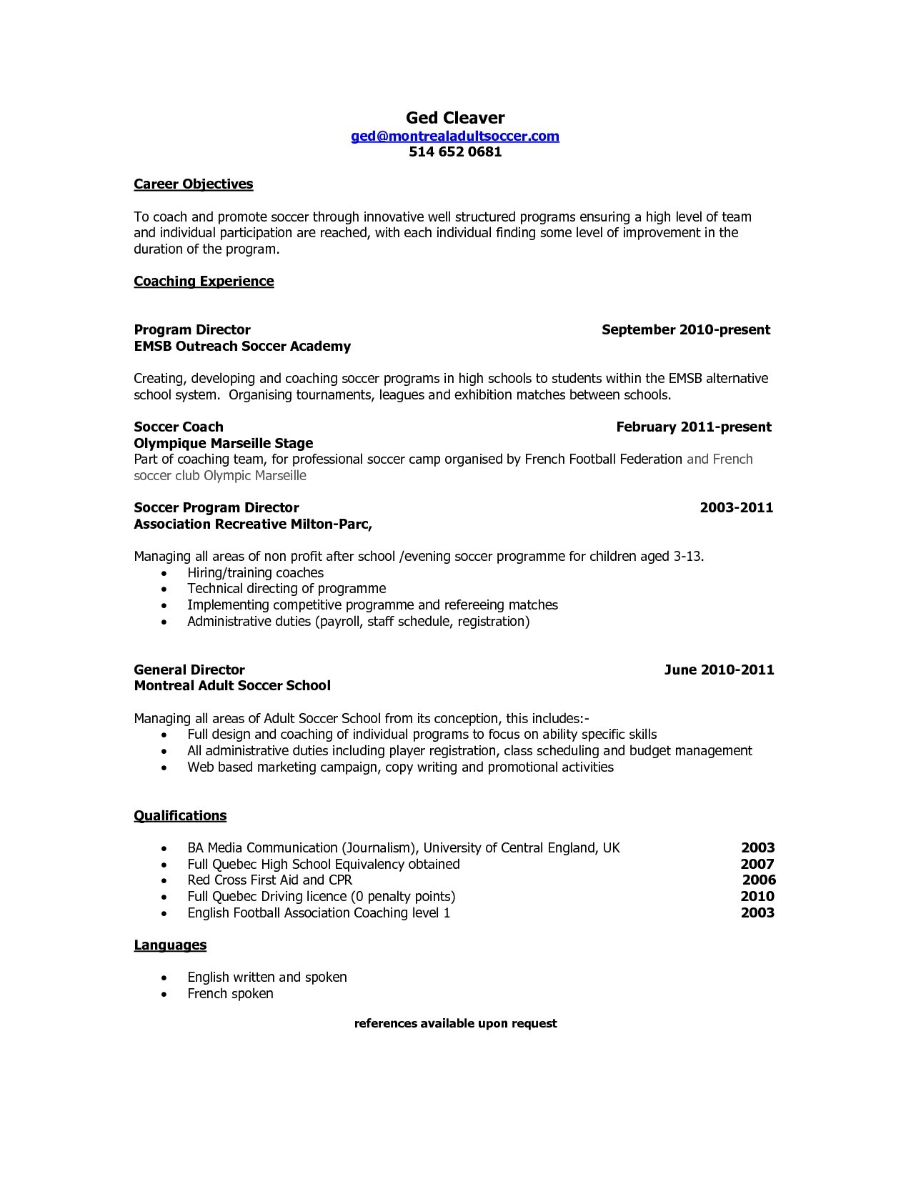 soccer coach resume mt home arts objective for coaching sample quebec new template best Resume Objective For Coaching Resume