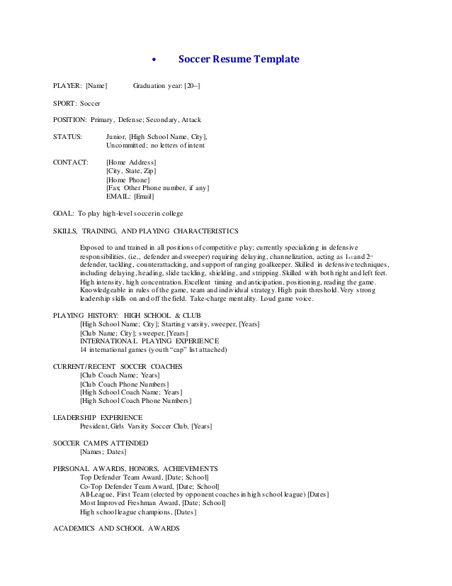 soccer resume template and cover letter football player sample Resume Football Player Resume Sample