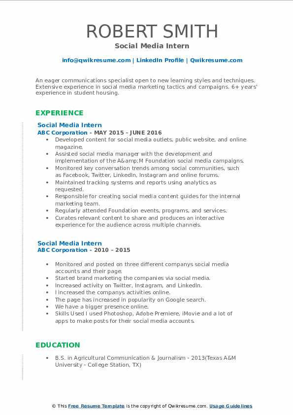 social media intern resume samples qwikresume pdf exceptional examples trucker indeed Resume Social Media Intern Resume
