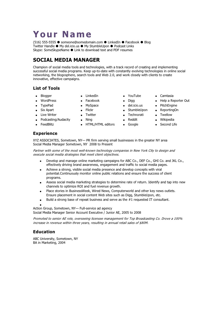 social media manager cv template sample resume offshore samples spa front desk accounting Resume Social Media Manager Sample Resume