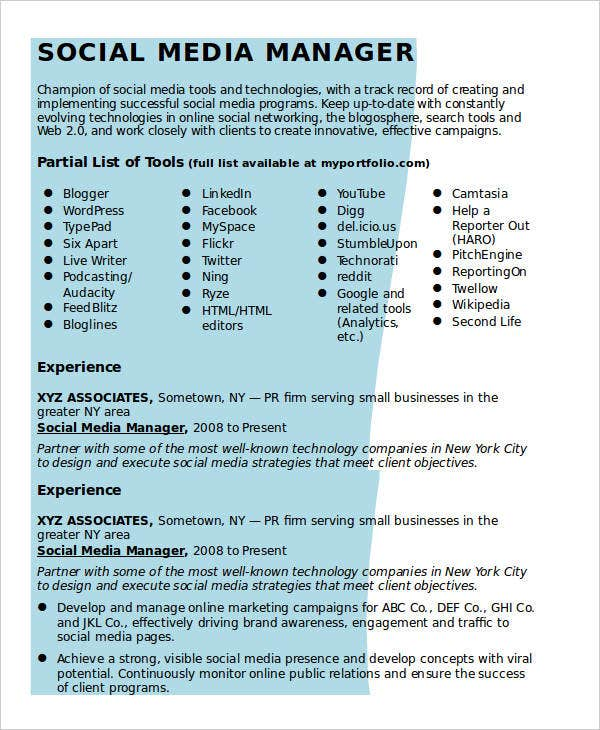 social media resume templates pdf free premium manager sample dragon ball super science Resume Social Media Manager Sample Resume