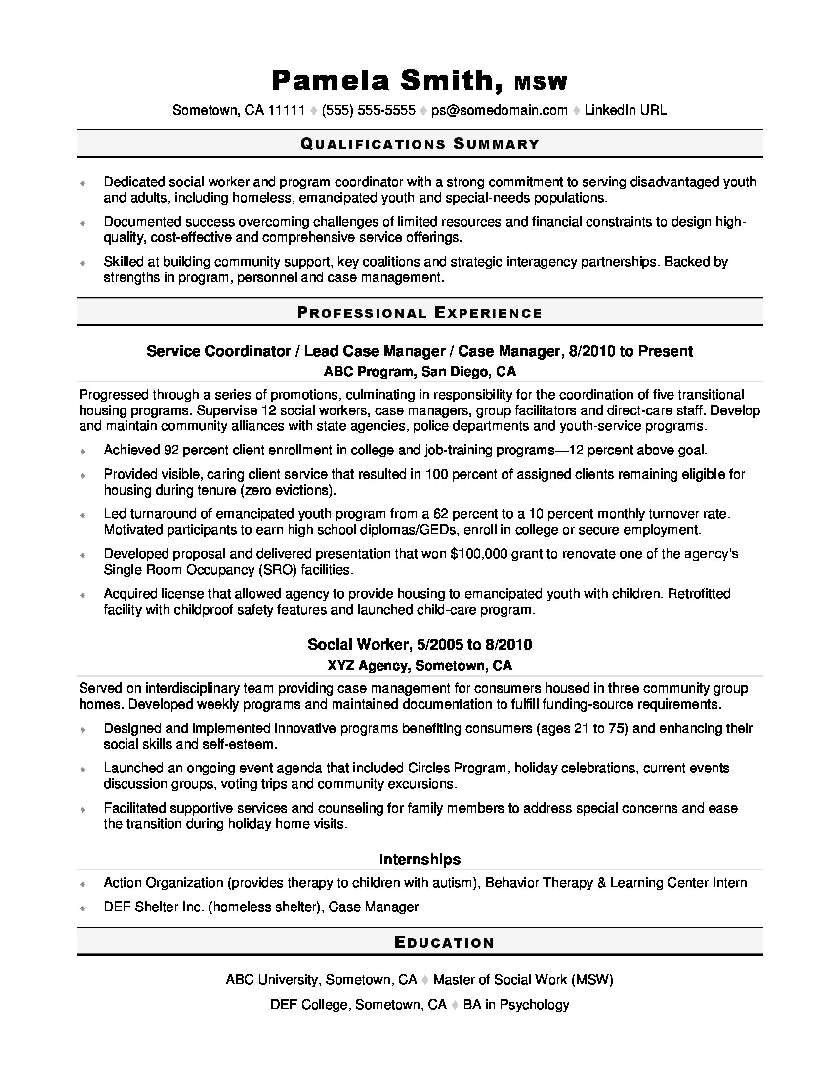 social worker resume sample monster experience working with youth personal statement for Resume Experience Working With Youth Resume