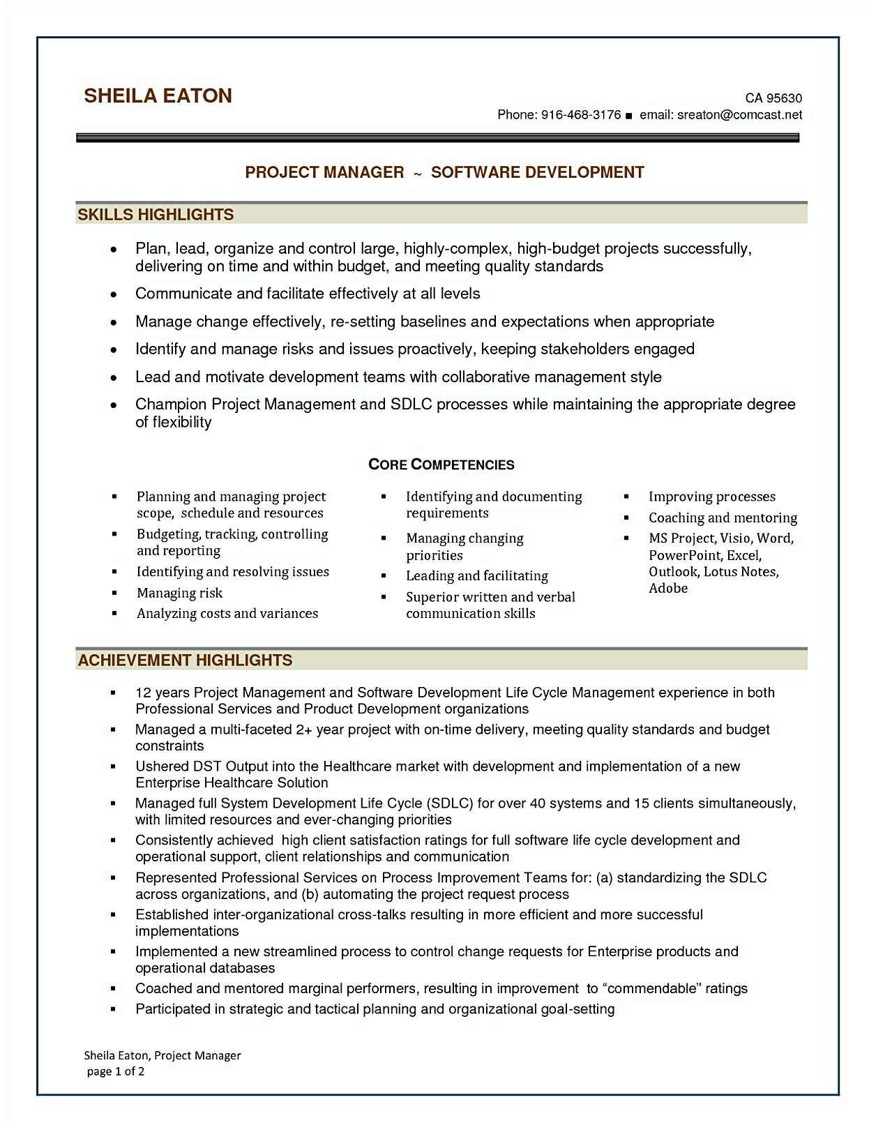 software project manager resume sample in ways to applying for sof management projects Resume Software Projects For Resume
