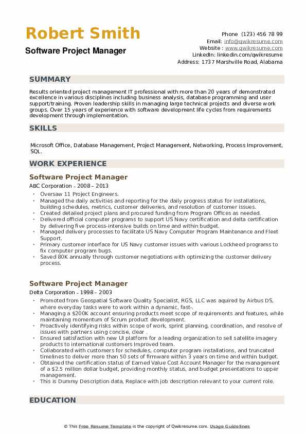 software project manager resume samples qwikresume projects for pdf format hotel Resume Software Projects For Resume