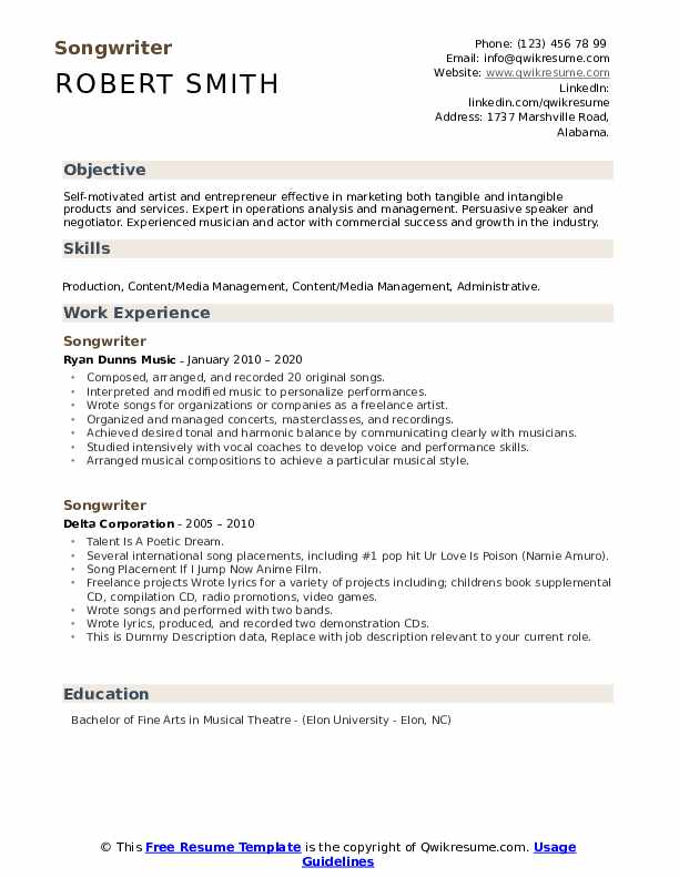 songwriter resume samples qwikresume music composition pdf tags telecom event coordinator Resume Music Composition Resume