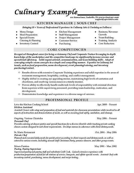 sous chef resume examples job template culinary business administration objective Resume Culinary Resume Examples