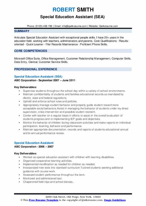 special education assistant resume samples qwikresume sample needs pdf high school first Resume Sample Resume Special Needs Assistant