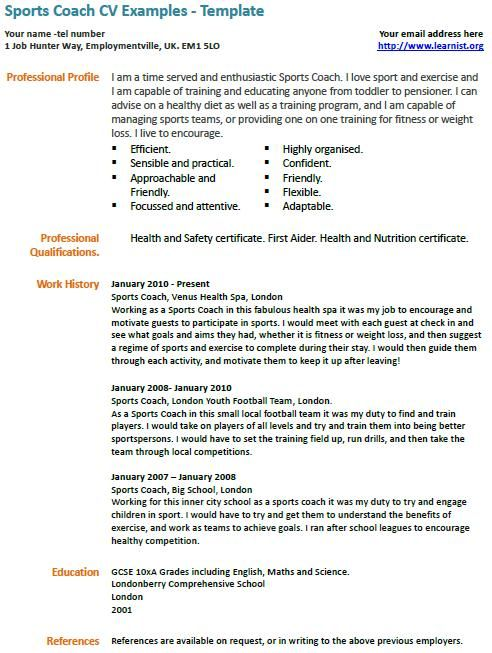 sports coach cv example examples job resume samples on wellness coordinator objective Resume Sports On Resume Example