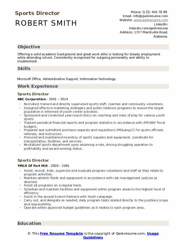 sports director resume samples qwikresume on example pdf section titles auto technician Resume Sports On Resume Example