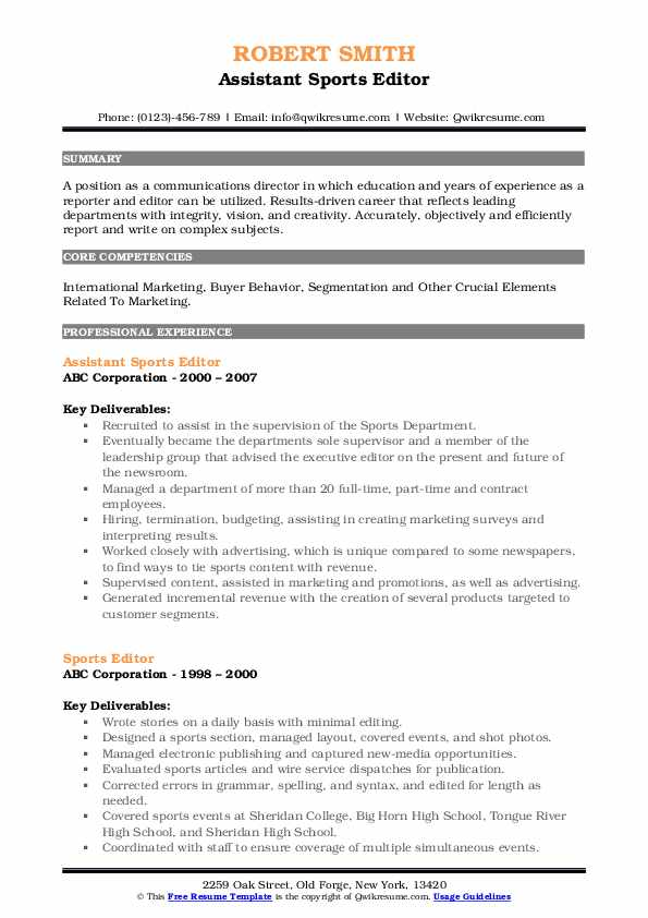 sports editor resume samples qwikresume on example pdf section titles administrative Resume Sports On Resume Example