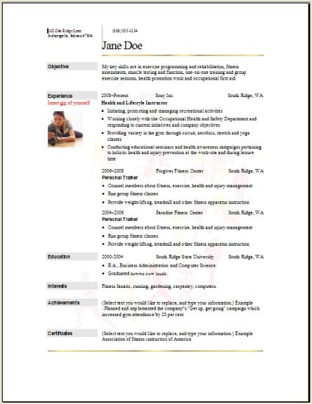 sports fitness resume occupational examples samples free edit with word on example Resume Sports On Resume Example