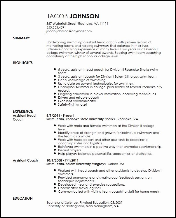 sports resume for coaching luxury free professional coach template examples job on Resume Sports On Resume Example