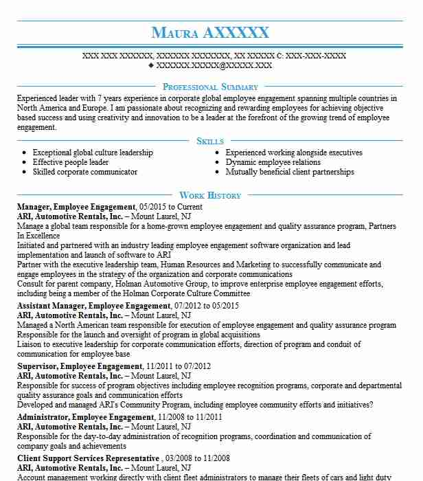 sr manager employee engagement resume example comcast brighton coordinator ceh Resume Employee Engagement Coordinator Resume