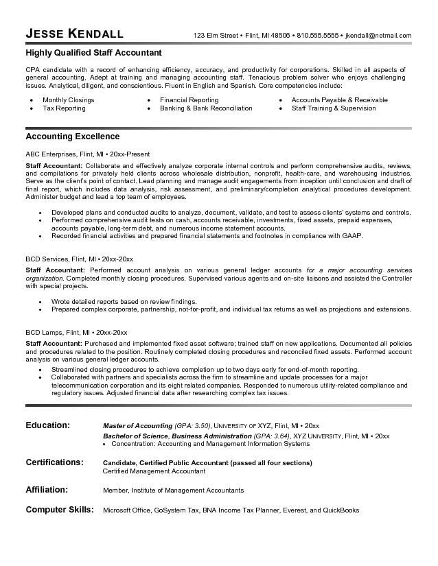 staff accountant resume example latest format examples objective statement for finance Resume Objective For Finance Resume
