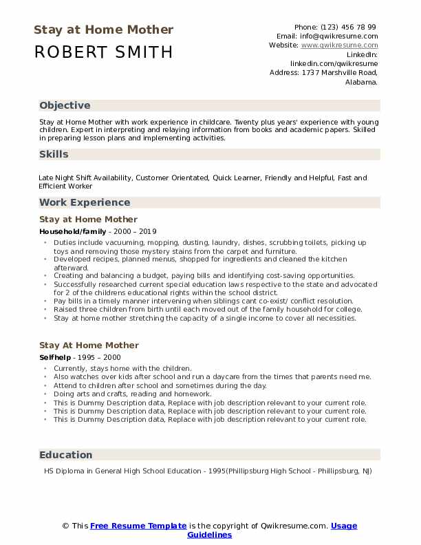 stay at home mother resume samples qwikresume work from skills pdf builder reviews print Resume Work From Home Resume Skills