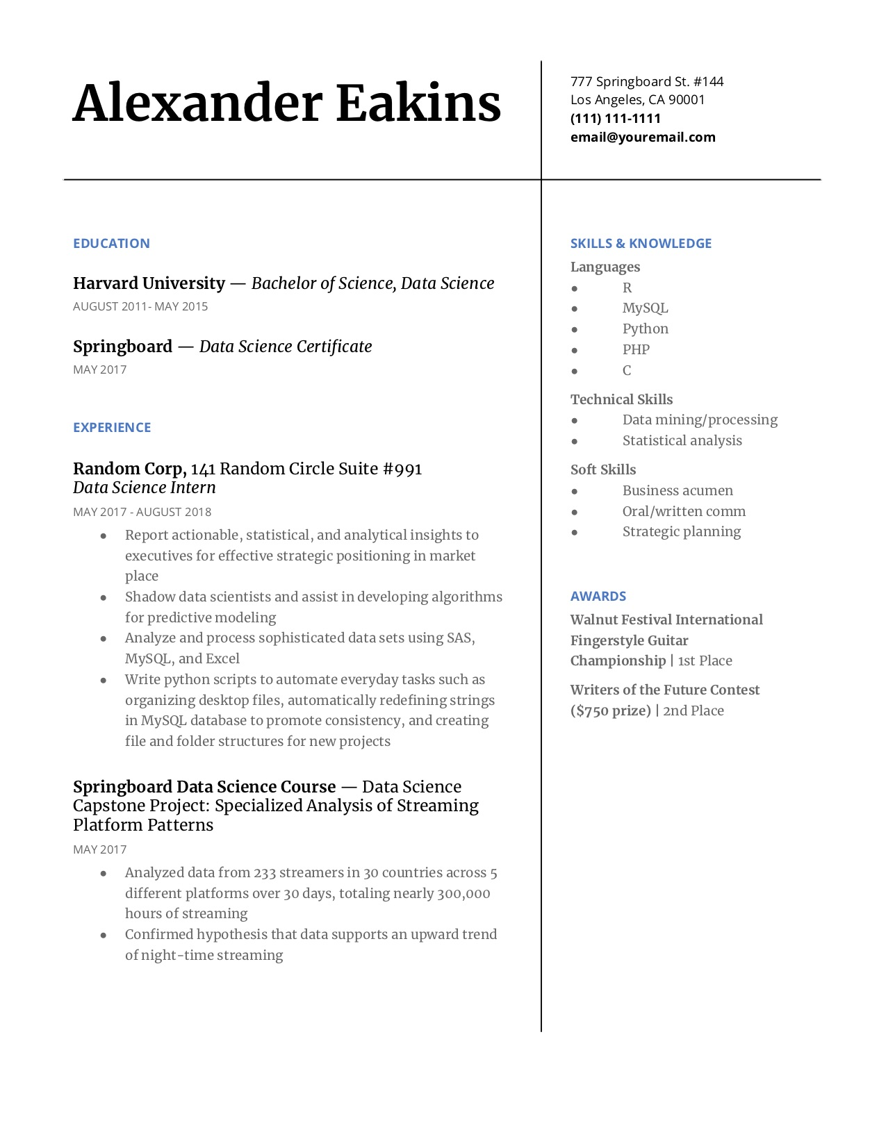 step guide to make your data science resume pop springboard blog example patrol officer Resume Data Science Resume Example