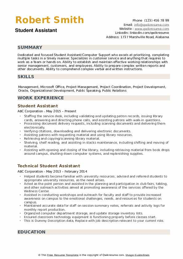 student assistant resume samples qwikresume summary for students pdf certified nursing Resume Resume Summary Samples For Students