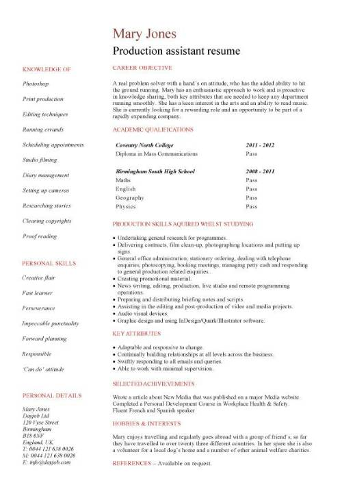 student entry level production assistant resume template pic acting format quality Resume Production Assistant Resume