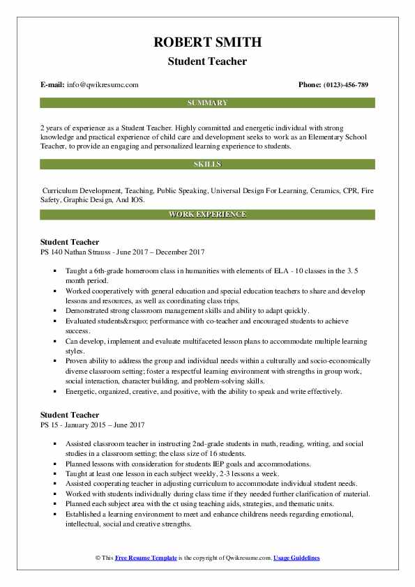 student teacher resume samples qwikresume experience on pdf ats friendly template free Resume Student Teacher Experience On Resume