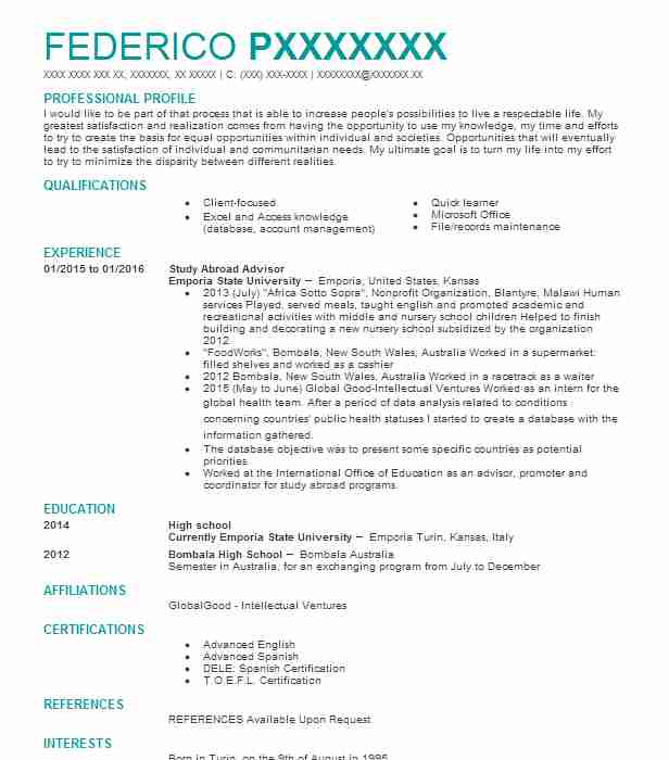 study abroad advisor resume example resumes livecareer good skills for accounting everest Resume Study Abroad Advisor Resume