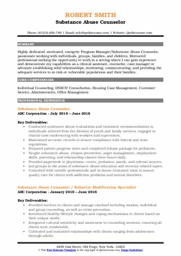 substance abuse counselor resume samples qwikresume pdf media buyer examples lawyer Resume Substance Abuse Counselor Resume