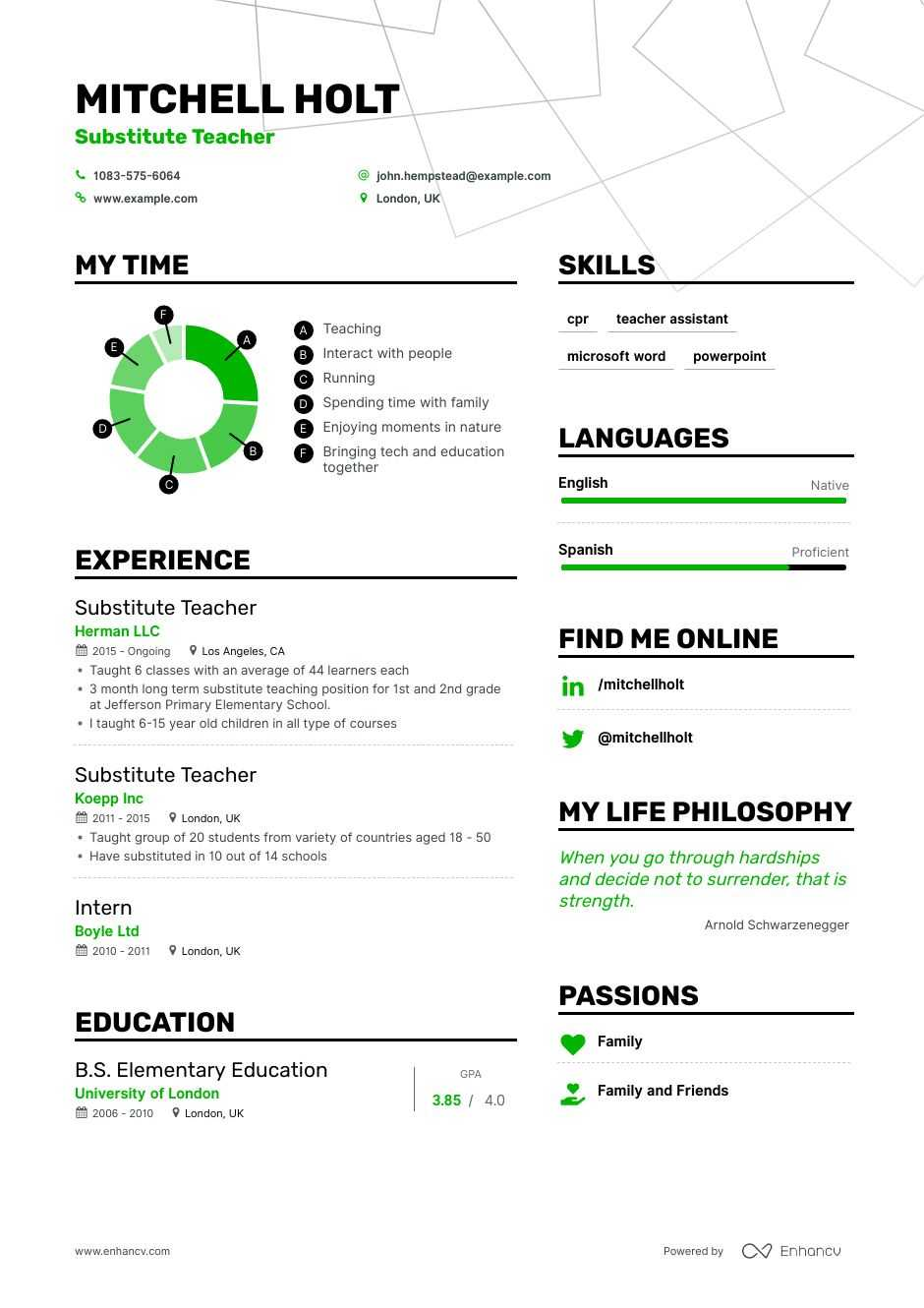 substitute teacher resume example for enhancv objective some interests good summary Resume Substitute Teacher Resume Objective